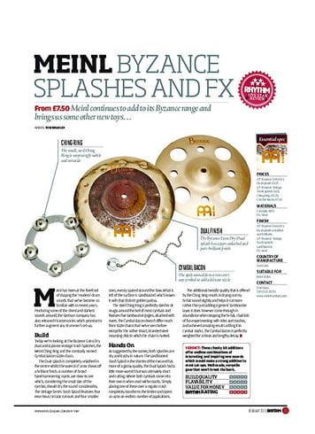 Rhythm Meinl Byzance Splashes and FX