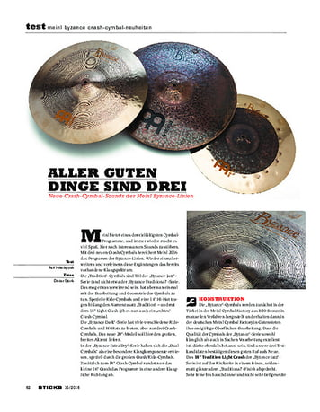 Sticks Meinl Byzance Crash-Cymbal-Neuheiten