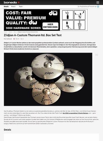 Bonedo.de Zildjian A-Custom Thomann ltd. Cymbal Set