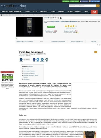 Audiofanzine.com Lewitt LCT 640 TS