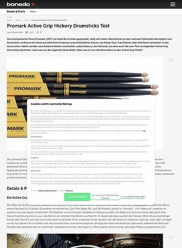 Bonedo.de Promark Active Grip Hickory Drumsticks
