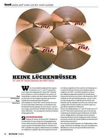 Sticks Paiste PST7 Crash Und Thin Crash Cymbals