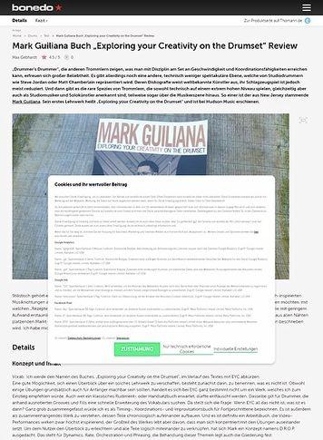 "Bonedo.de Mark Guiliana Buch ""Exploring your Creativity on the Drumset"""