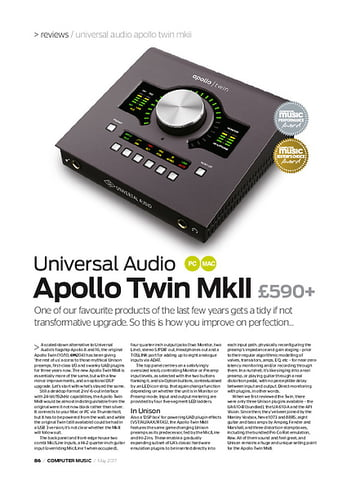 Computer Music Universal Audio Apollo Twin MkII
