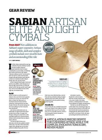 Rhythm Sabian Artisan Elite and Light Cymbals