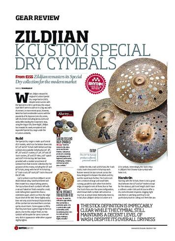 Rhythm Zildjian K Custom Special Dry Cymbals