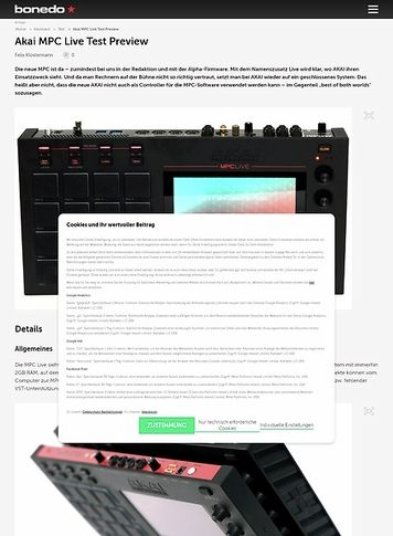 Bonedo.de Akai MPC Live Test Preview