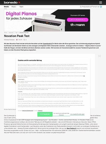 Bonedo.de Novation PEAK Test Preview