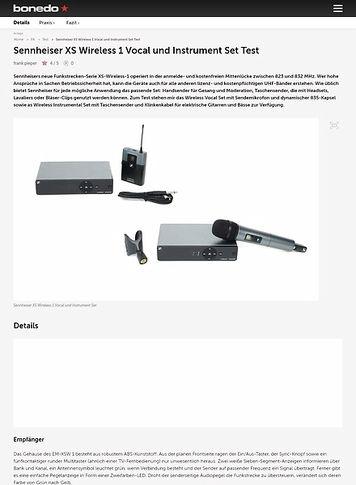 Bonedo.de Sennheiser XS Wireless 1 Vocal und Instrument Set