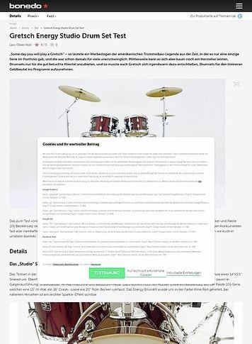 Bonedo.de Gretsch Energy Studio Drum Set