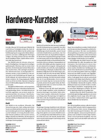 Beat Miktek MK300, AKG K92, Rupert Neve Designs RNHP