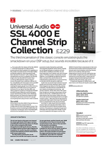 Computer Music Universal Audio SSL 4000 E Channel Strip Collection