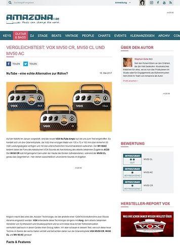Amazona.de Vergleichstest: VOX MV 50 CR, MV50 CL und MV 50 AC