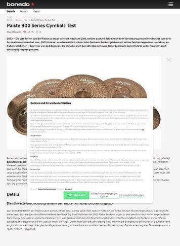Bonedo.de Paiste 900 Series Cymbals