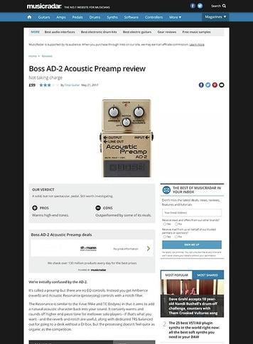 MusicRadar.com Boss AD-2 Acoustic Preamp