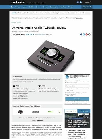 MusicRadar.com Universal Audio Apollo Twin MkII