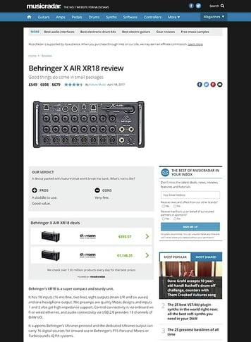 MusicRadar.com Behringer X AIR XR18