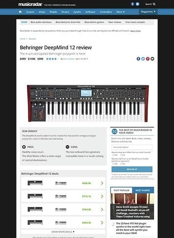 MusicRadar.com Behringer DeepMind 12