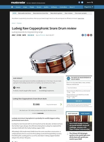 MusicRadar.com Ludwig Raw Copperphonic Snare Drum