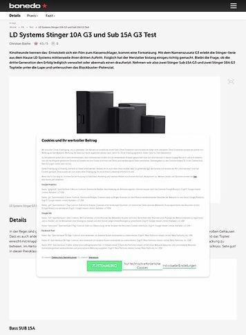 Bonedo.de LD Systems Stinger 10A G3 und Sub 15A G3