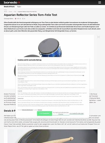 Bonedo.de Aquarian Reflector Series Tom-Felle