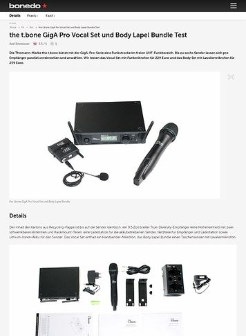 Bonedo.de the t.bone GigA Pro Vocal Set und Body Lapel Bundle