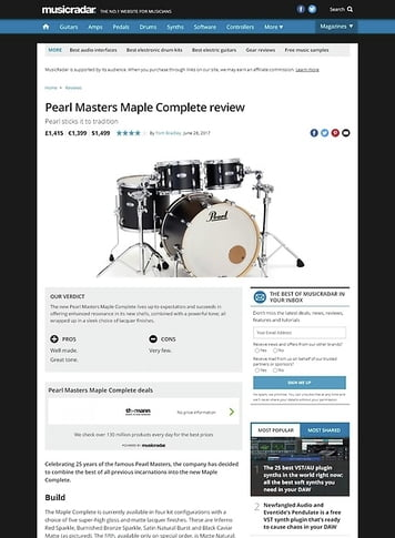 MusicRadar.com Pearl Masters Maple Complete