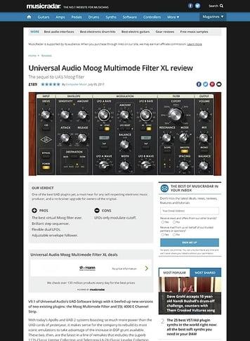 MusicRadar.com Universal Audio Moog Multimode Filter XL