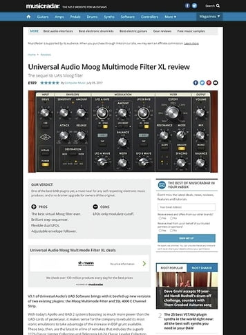MusicRadar.com Universal Audio Moog Multimode Filter XL