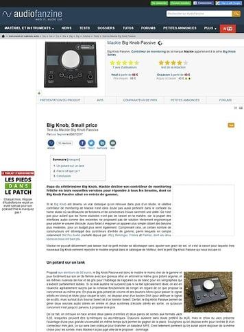 Audiofanzine.com Mackie Big Knob Passive