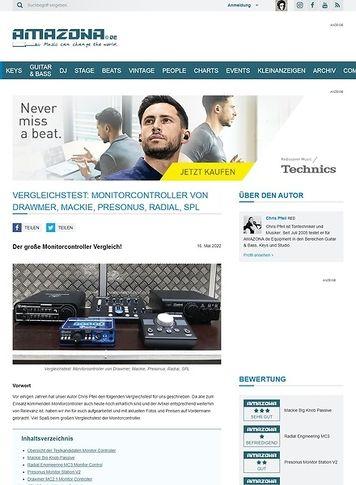 Amazona.de Vergleichstest Monitor Controller: Mackie Big Knob Passive, Radial Engineering MC3, Presonus Monitor Station V2, Drawmer MC2.1, SPL 2Control