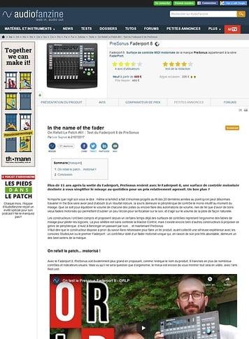 Audiofanzine.com PreSonus Faderport 8
