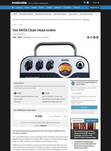 MusicRadar.com Vox MV50 Clean Head