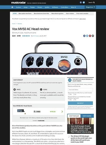 MusicRadar.com Vox MV50 AC Head