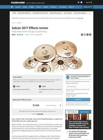MusicRadar.com Sabian 2017 Effects