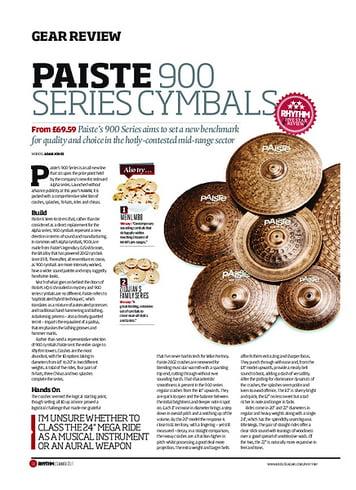 Rhythm Paiste 900 Series Cymbals