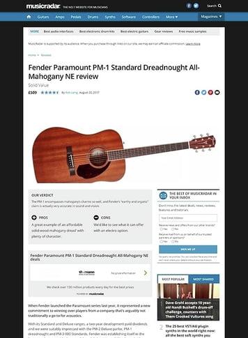 MusicRadar.com Fender Paramount PM-1 Standard Dreadnought All-Mahogany NE