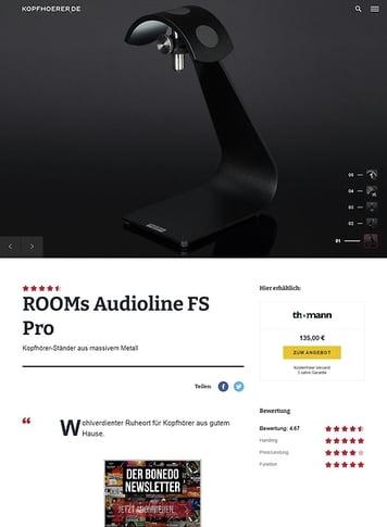 Kopfhoerer.de ROOMs Audio Line Typ FS Pro BK Headphone Stand