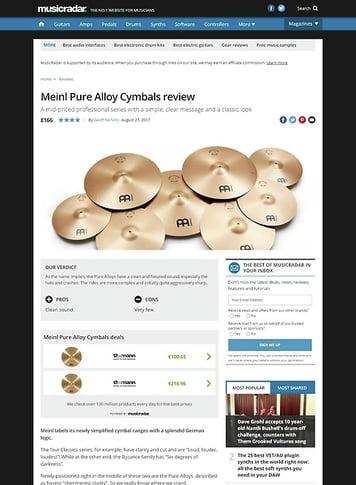 MusicRadar.com Meinl Pure Alloy Cymbals