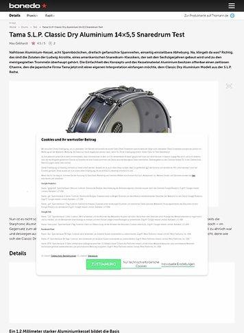 Bonedo.de Tama S.L.P. Classic Dry Aluminium 14x5,5 Snaredrum