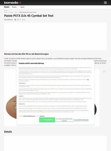 Bonedo.de Paiste PSTX DJs 45 Cymbal Set