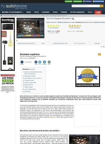 Audiofanzine.com Toontrack Superior Drummer 3
