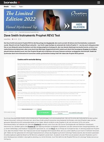 Bonedo.de Dave Smith Instruments Prophet REV2