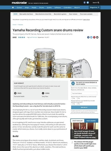 MusicRadar.com Yamaha Recording Custom snare drums