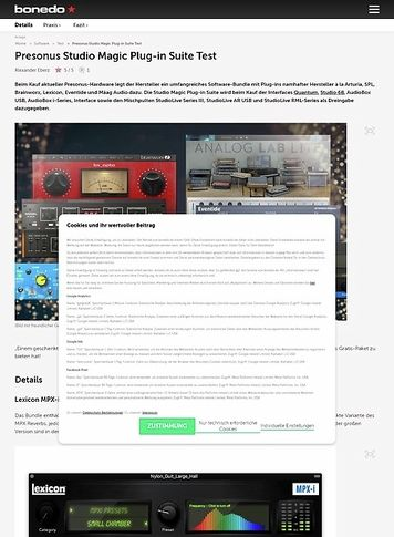 Bonedo.de Presonus Studio Magic Plug-in Suite