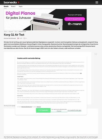 Bonedo.de Korg G1 Air Digitalpiano