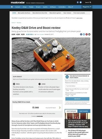 MusicRadar.com Keeley D&M Drive and Boost