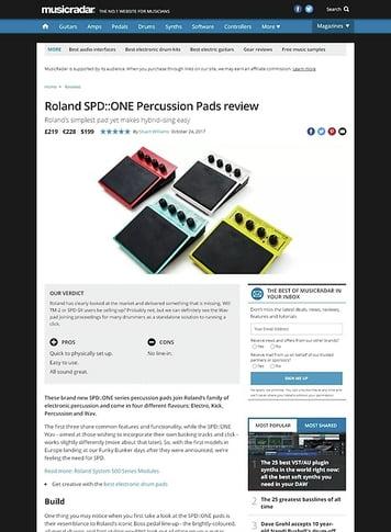 MusicRadar.com Roland SPD::ONE Percussion Pads