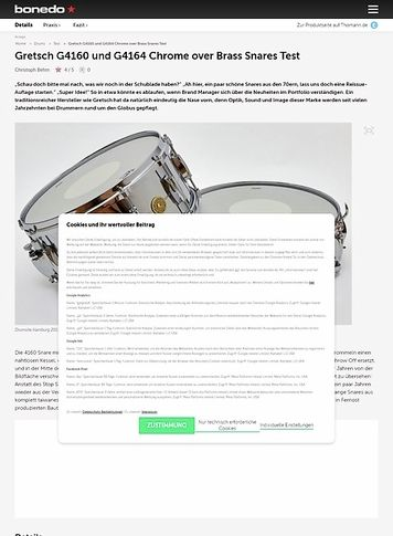 Bonedo.de Gretsch G4160 und G4164 Chrome over Brass Snares