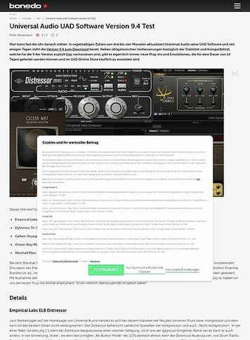 Bonedo.de Universal Audio UAD Software Version 9.4